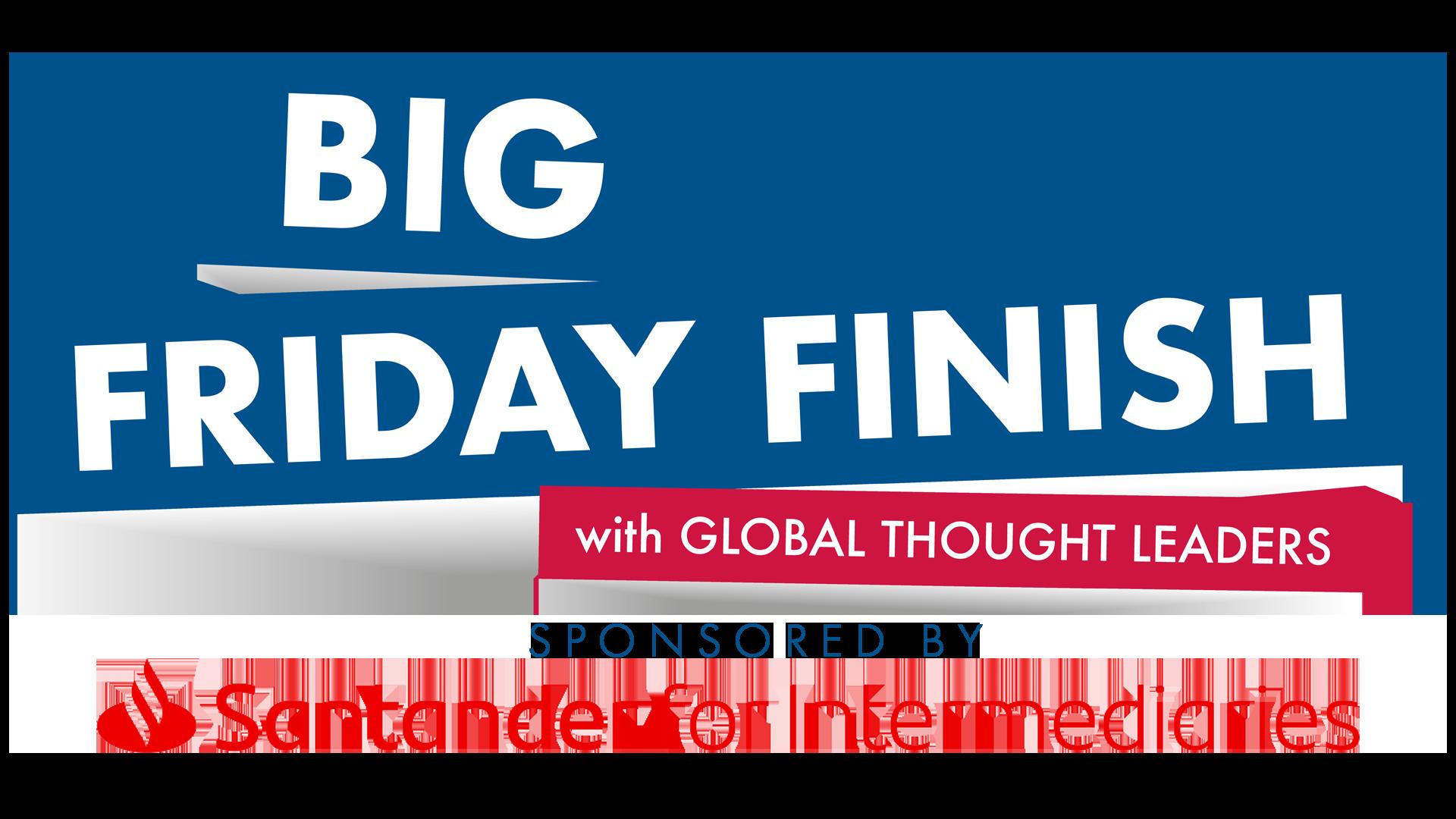 Big Finish Friday logo with Santander Sponsorship